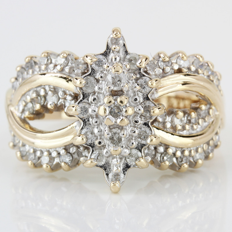 4.25 14k Two Tone Gold Diamond Cluster Ring Size