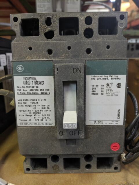 General Electric Ge Circuit Breaker 150 Amp 480v 3 Pole Ted134150 For Sale Online Ebay