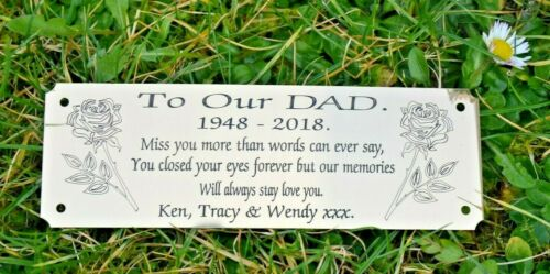 """SOLID BRASS MEMORIAL BENCH PLAQUE GRAVE SIGN PERSONALISED ENGRAVED 6/"""" X 2/"""" ROSES"""