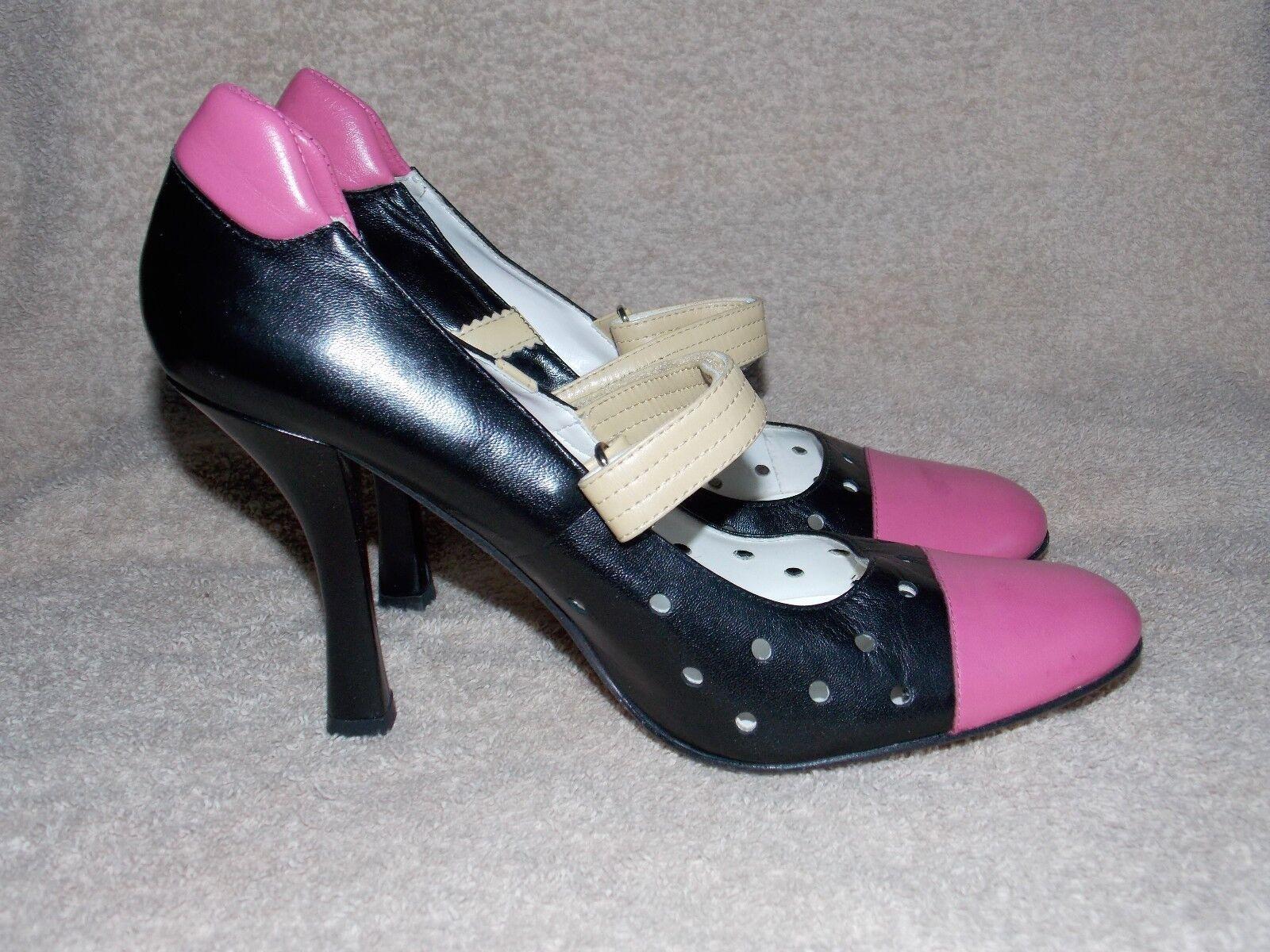 Steven BLACK PINK BEIGE Strap Pump Leather Heels 10M For Women Used