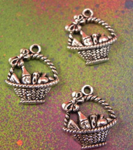 10 Basket Wine Picnic Baskets Fruit Cheese Themed Charms Pendants Silver Bottle