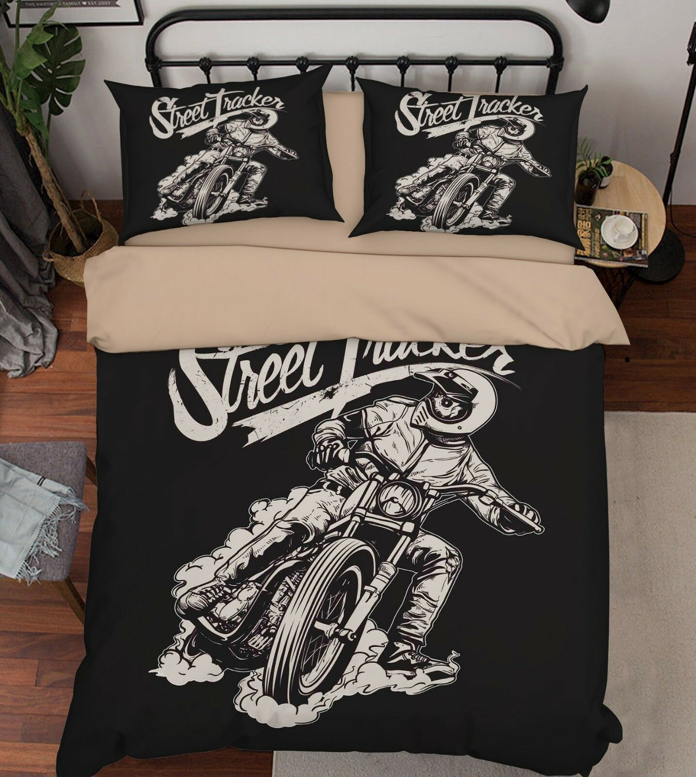 3D Motorcycle Boy 66 Bed Pillowcases Quilt Duvet Cover Set Single King UK Summer