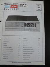 Original Service Manual  ITT Graetz Hifi 9021