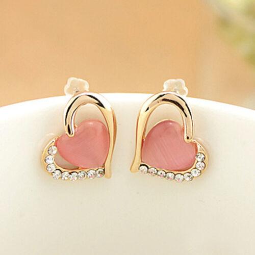 Women/'s Korean Heart Shaped Rhinestones Opals Ear Studs Earrings Stylish Choice