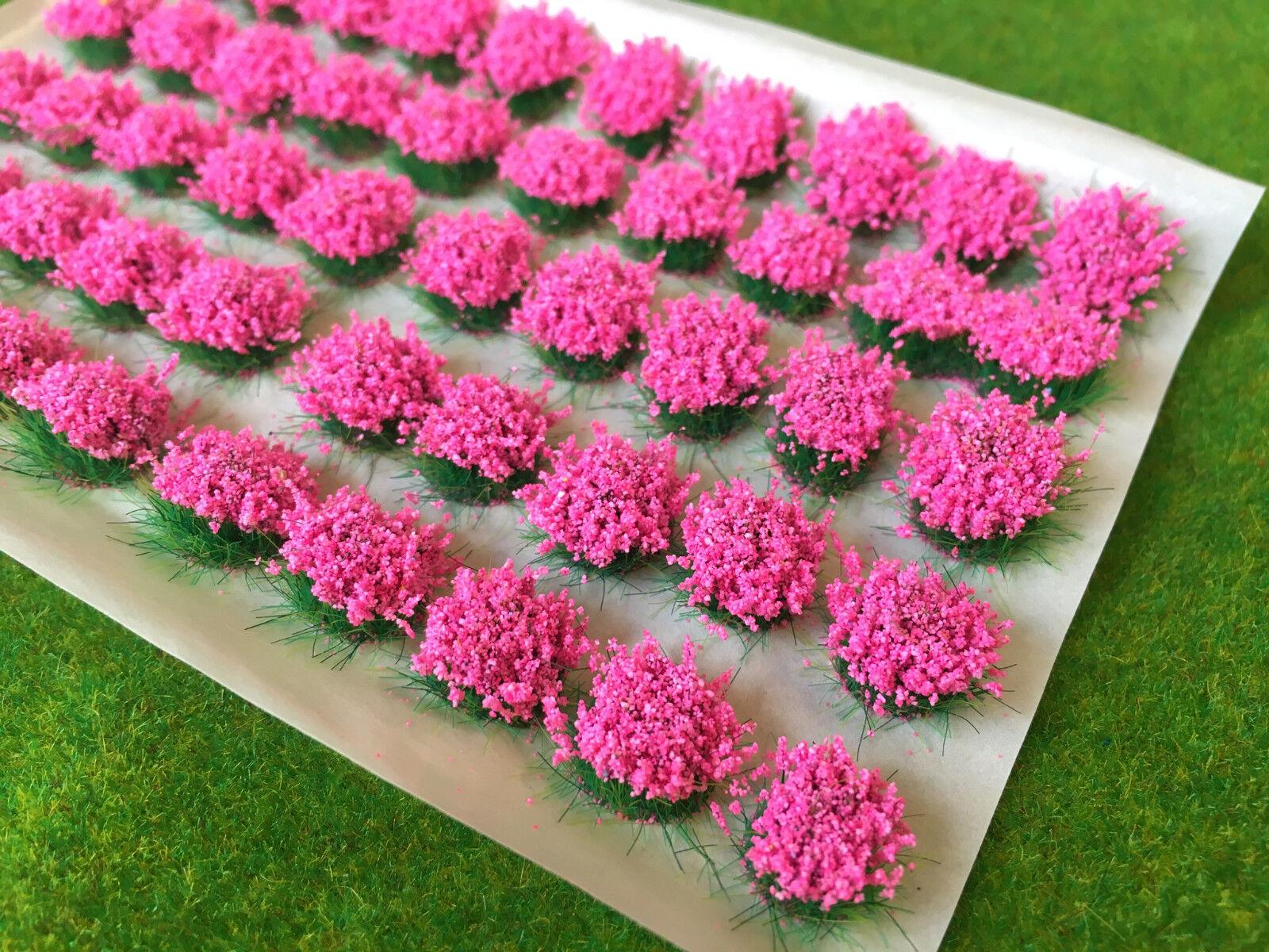 Large Pink Flower Tufts - Model Scenery Static Grass Warhammer Wargame Railway