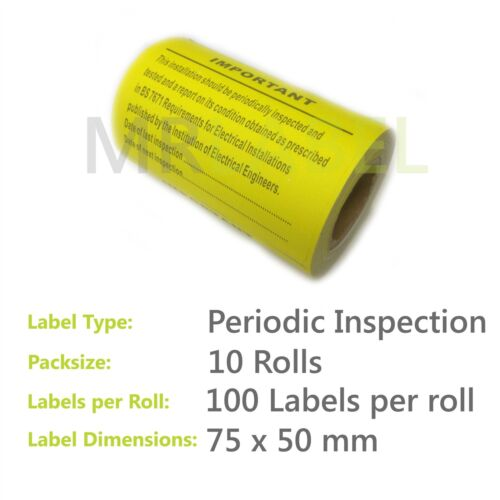 75x50mm 10 Rolls 1000x Periodic Inspection /& Test Electrical Safety Labels