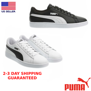 PUMA-Men-039-s-Smash-Suede-Leather-Shoe-Sports-Athletic-White-amp-Black-Sneaker