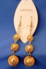 "NEW Lancell 18kt Gold Plated ""Disco"" Ball  Pierced Earrings"