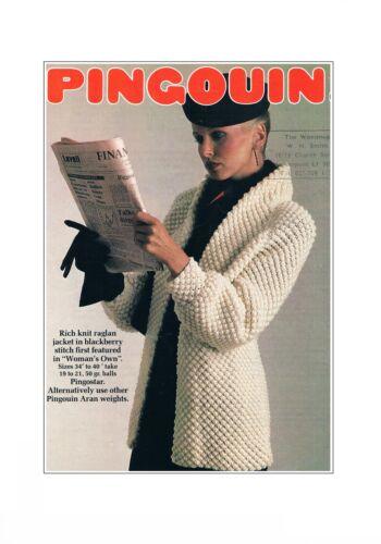 "Ladies Aran Blackberry St Jacket//Coat Knitting Pattern 34-40/"" PATTERN ONLY ±phil"