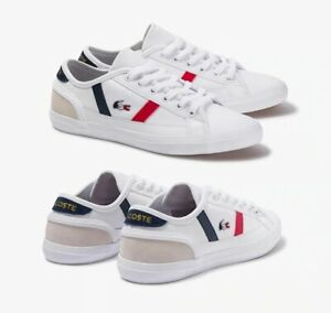 Lacoste Men Shoes Sideline Tri 1 White Navy red Leather Casual Sneakers NEW