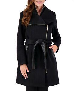 Vince Camuto Womens Asymmetrical Belted Wrap Coat Medium Black Wool