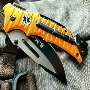 """8.25"""" Tactical Orange EMT EMS RESCUE SPRING ASSISTED Open Folding Pocket Knife"""