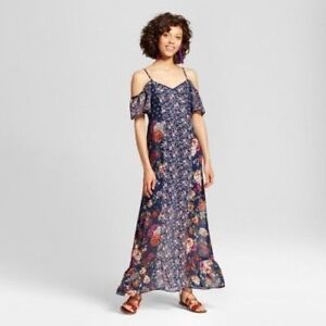 826c612ed7646 Details about NEW Xhilaration Women s Juniors  Mixed Print Cold Shoulder  Maxi Dress Navy