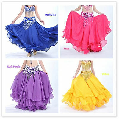 New Belly Dance Costume Three Layers Performances Skirt/Dress 12 color (no belt)