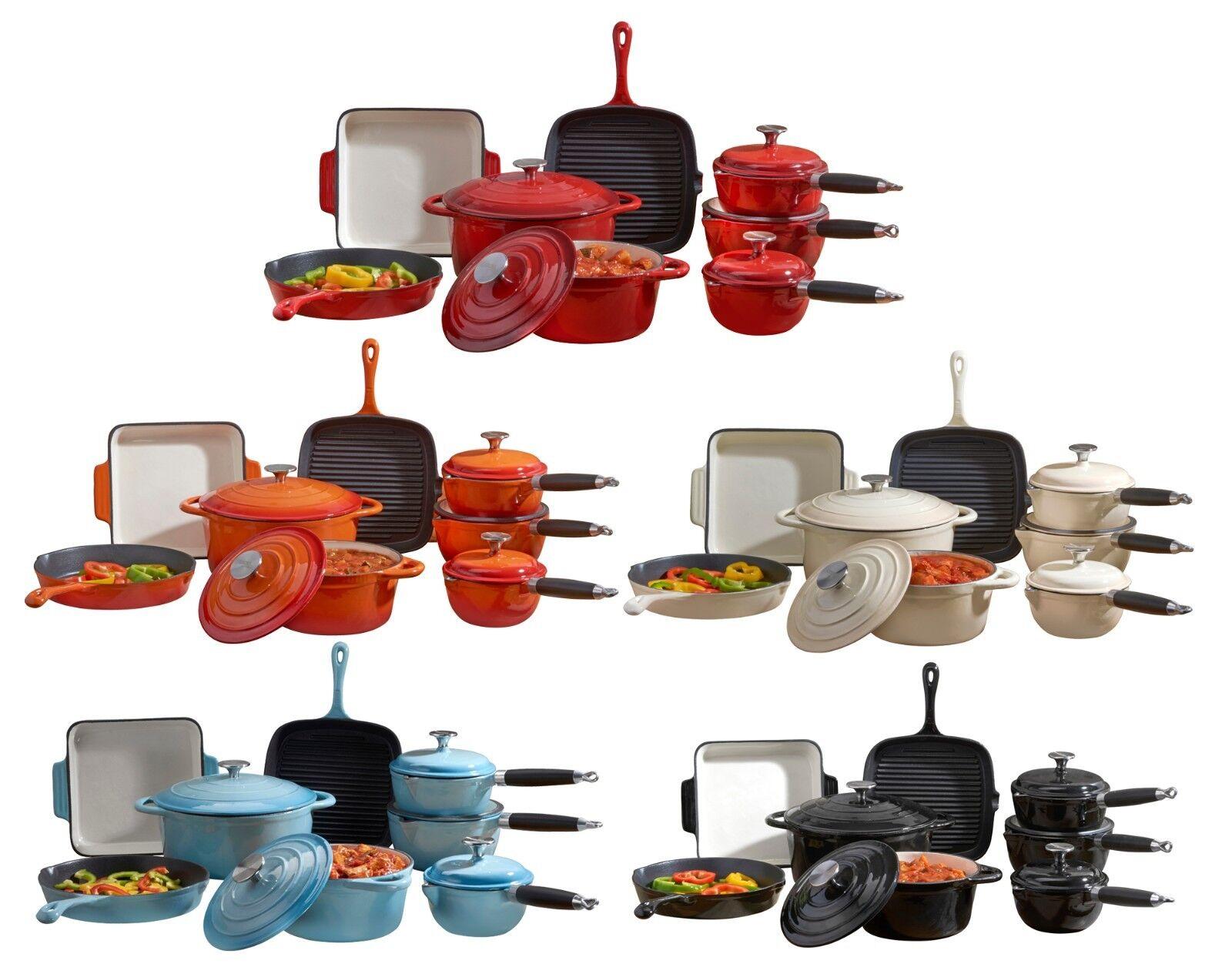 Deluxe fonte émail Cookware Set Cocotte Crêpière Casseroles Pot 3 5 8 Pièce