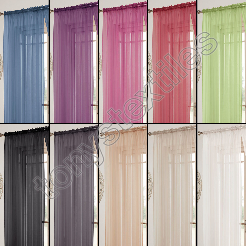 tony 39 s textiles rideau lucy style voilage avec passe tringle transparent ebay. Black Bedroom Furniture Sets. Home Design Ideas