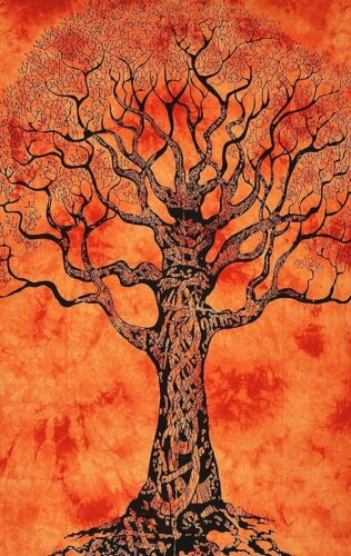 Dry Tree Design Poster Textile Small Tapestry Orange Color Wall Hanging Rug Art