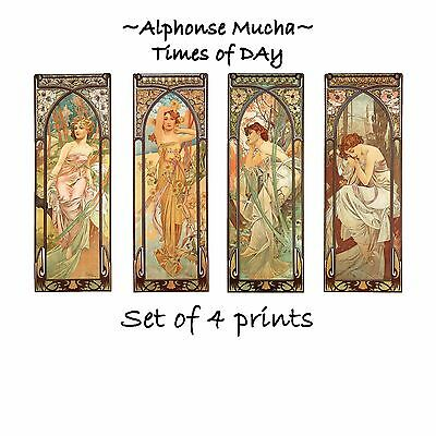 Deluxe Art Nouveau Decorative Print by Artdash® ~ Alphonse Mucha TIMES OF DAY