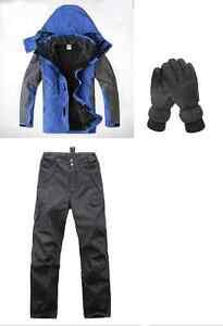 Men-Blue-Hiking-Camping-Bush-Walking-Waterproof-Jacket-Pants-Gloves-S-M-L-XL-XXL