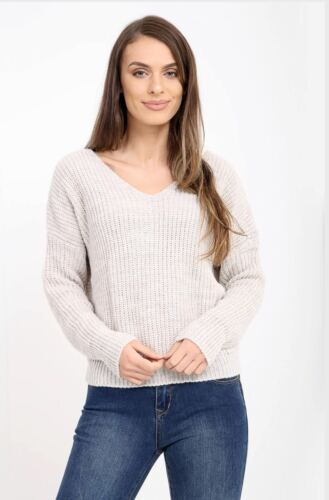 Twist Knot Slouch Fit Baggy Jumper Front Back Wrapover Womens Knitted Xmas Top