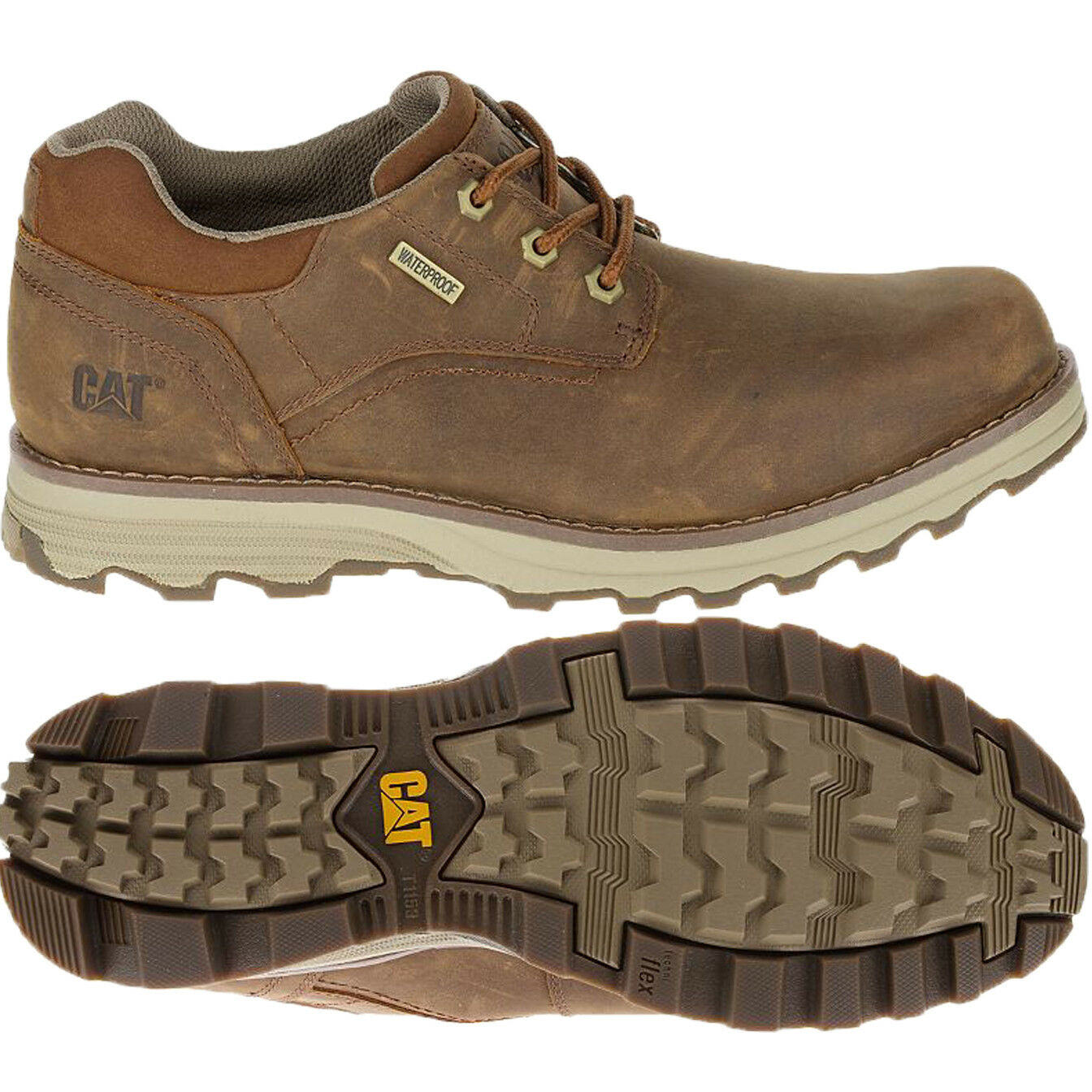 Caterpillar Shoes Uomo Pelle Prez Prez Pelle Waterproof Brown Lace-up Shoe P720683 1fb6ce