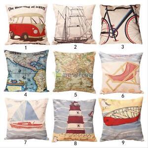 Fashion-Home-Cartoon-Car-Boat-Decorative-Cotton-Linen-Pillow-Case-Cushion-Cover