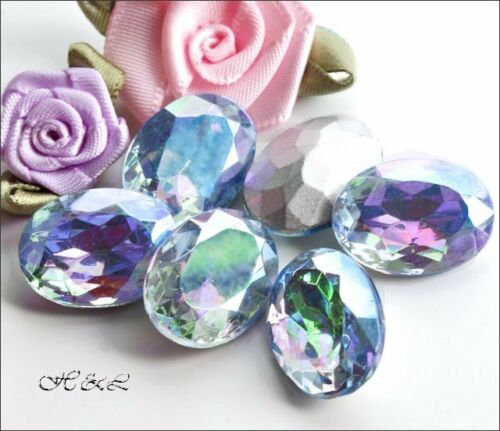 3 Czech Light Sapphire AB 18mm x 13mm Oval Glass Vintage Crystals Foiled chatons