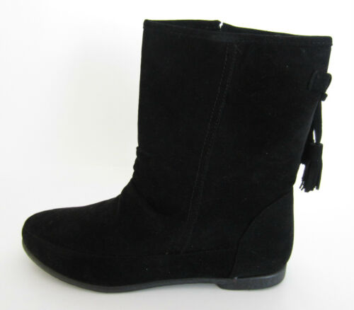 R13B Spot On F4R359 Ladies Black Synthetic Suede Ankle Boots