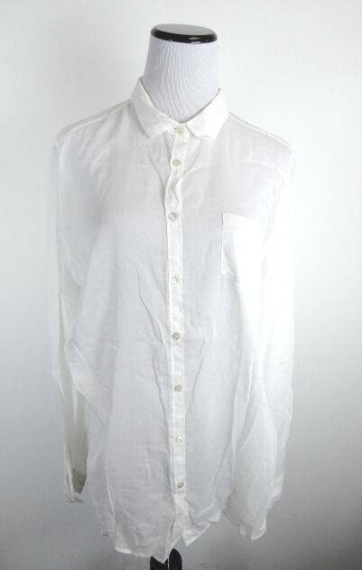 GIADE FORTE IVORY BUTTON FRONT SHEER COTTON SILK BLEND SHIRT TOP M L