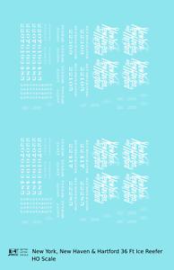 K4-HO-Decals-New-York-New-Haven-amp-Hartford-36-Ft-Wood-Ice-Reefer-Script-Logo