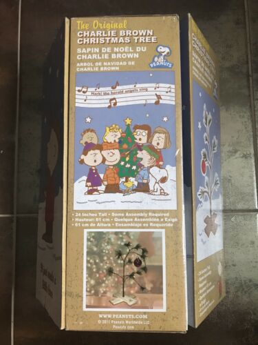 """Genuine CHARLIE BROWN CHRISTMAS TREE Peanuts Snoopy 24/"""" Great Gift Idea NEW"""