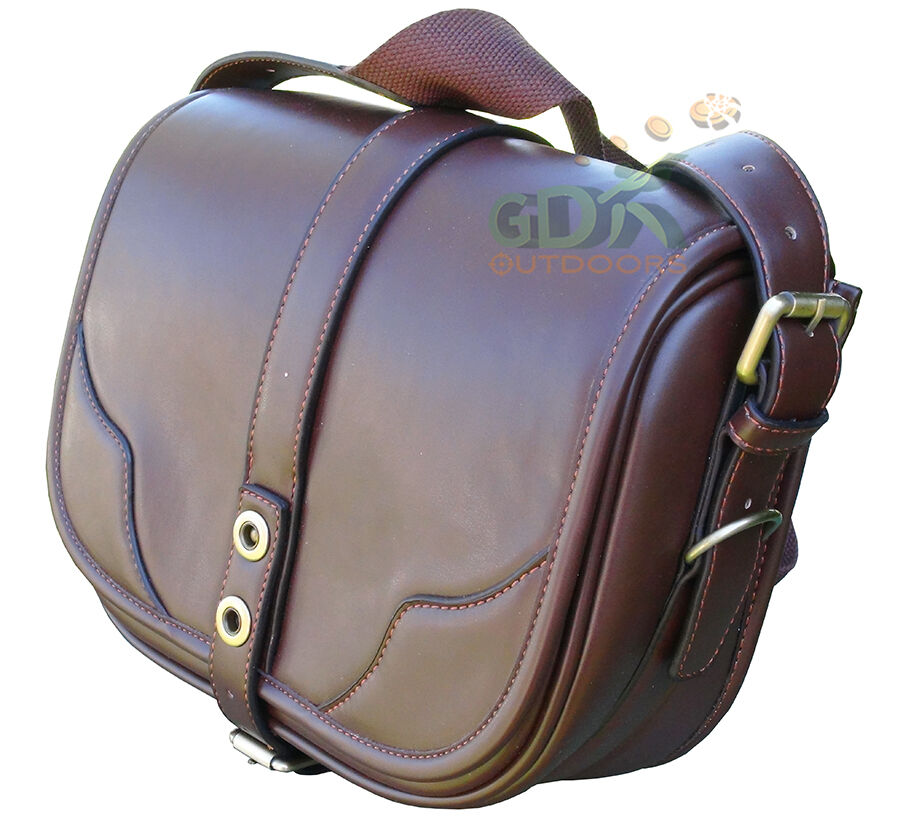 GDK BROWN PU LEATHER CARTRIDGE BAG, POUCH, FOR 100-125 SHELLS,GUN DBpu-01