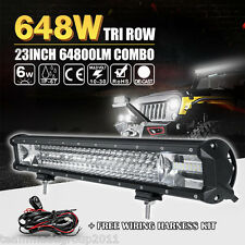 7D+ 23inch 648W Cree LED Work Light Bar Spot Flood Combo Tri-Row Lamp Truck Boat