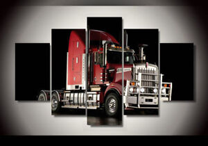 Red-Truck-framed-print-canvas-5-pieces