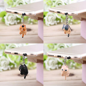 Cute Cat Hanging 3.5mm Anti Dust Earphone Jack Plug Stopper Cap For Phone SR