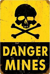 Pericolo-Mines-Arrugginiti-Insegna-Acciaio-450mm-x-300mm-Pst