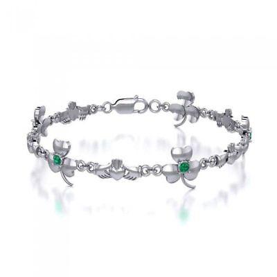 Celtic Irish Gemstone Choice Shamrock Sterling Silver Bracelet by Peter Stone
