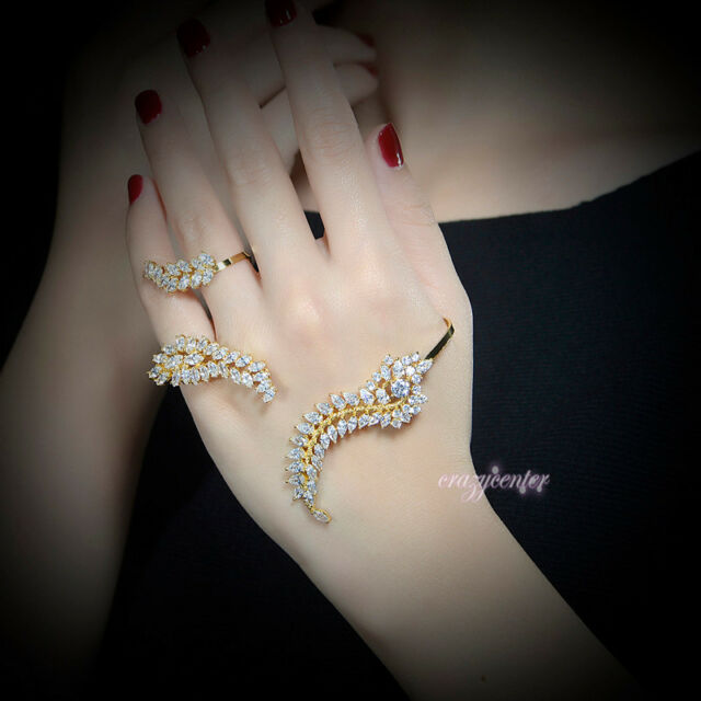 Adjustable palm cuff bangle zirconia cluster hand cuff bracelet Yellow Gold GP