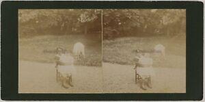 Bambini-Francia-Foto-Stereo-Amateur-Th2n5-Vintage-Citrato-c1900