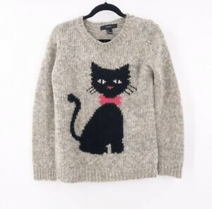 Forever-21-Black-Kitty-Cat-Pullover-Sweater-Size-Small-Juniors-Halloween