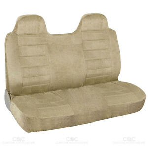 Swell Details About Truck Front Bench Seat Cover Beige Regal Velour Fabric Fitted Caraccident5 Cool Chair Designs And Ideas Caraccident5Info