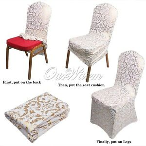 5 10 50 Universal Printed Golden Elastic Wedding Banquet Dining Chair Seat Cover