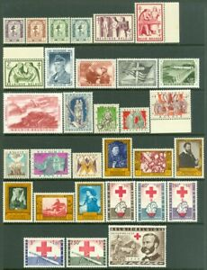 EDW1949SELL : BELGIUM 1956-59. 6 Diff. VF MNH Complete sets. Scott Catalog $131.