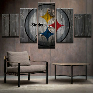 Pittsburgh-Steelers-Retro-5-pcs-Painting-Printed-Canvas-Wall-Art-Home-Decorative
