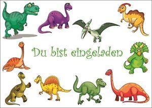 Das Bild Wird Geladen 6 Suesse Dino Dinosaurier Einladungskarten Zum  Kindergeburtstag