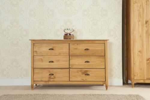 Birlea Pembroke 6 Drawer Chest Solid Wood Corona Mexican Waxed Pine