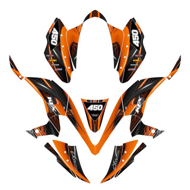 KFX 450R graphics custom decal kit for Kawasaki Quad #3333 Orange