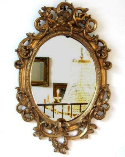 wandspiegel oval barock-rahmen mit engel deko-spiegel 90 cm gold, Attraktive mobel