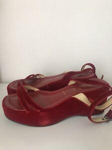 Vintage 1997 Prada Red Velvet Platform