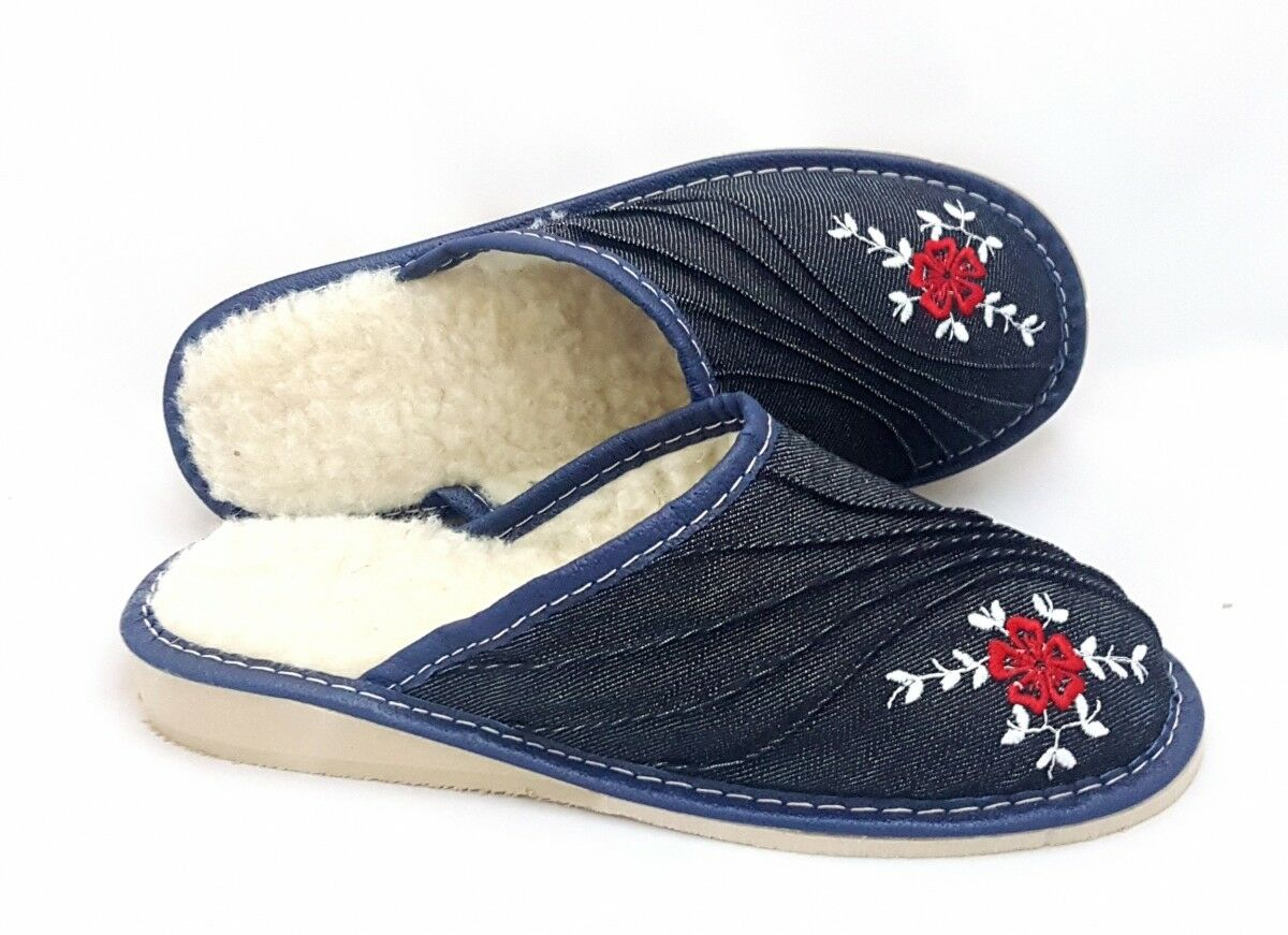 Sheep Wool Denim Blue Women Ladies Indoor Home Shoes Slippers Warm Mule 5 6 6.5